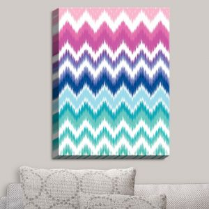 Decorative Canvas Wall Art | Organic Saturation - Ombre Ikat Chevron