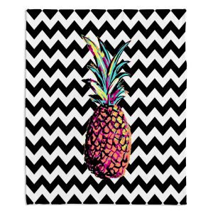 Decorative Fleece Throw Blankets | Organic Saturation - Party Pineapple Chevron