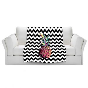 Artistic Sherpa Pile Blankets | Organic Saturation Party Pineapple Chevron