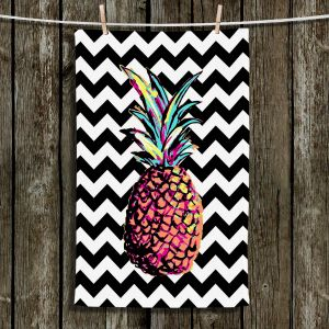 Unique Hanging Tea Towels | Organic Saturation - Party Pineapple Chevron | Pineapple Chevron