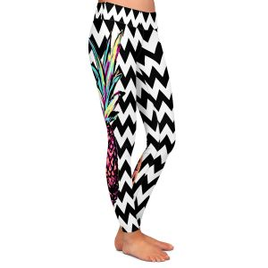 Casual Comfortable Leggings | Organic Saturation Party Pineapple Chevron