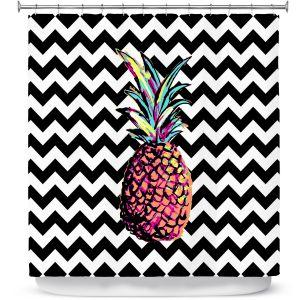 Premium Shower Curtains | Organic Saturation Party Pineapple Chevron