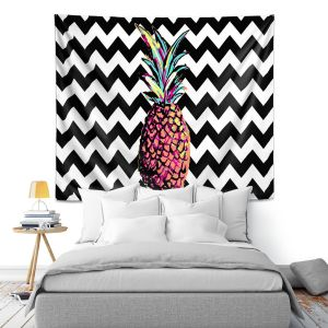 Artistic Wall Tapestry | Organic Saturation Party Pineapple Chevron