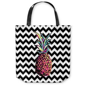 Unique Shoulder Bag Tote Bags | Organic Saturation Party Pineapple Chevron