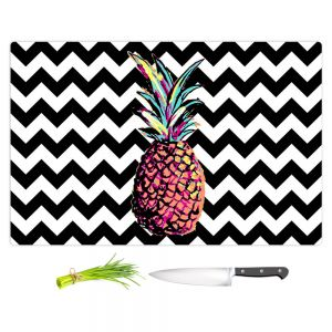 Artistic Kitchen Bar Cutting Boards | Organic Saturation - Party Pineapple Chevron