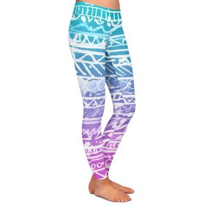 Casual Comfortable Leggings | Organic Saturation Pastel Ombre Aztec