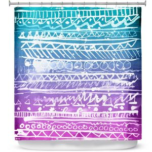 Premium Shower Curtains | Organic Saturation Pastel Ombre Aztec