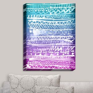 Decorative Canvas Wall Art | Organic Saturation - Pastel Ombre Aztec