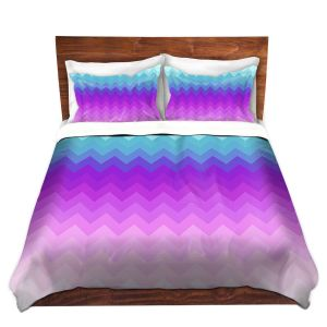 Artistic Duvet Covers and Shams Bedding | Organic Saturation - Pastel Ombre Chevron