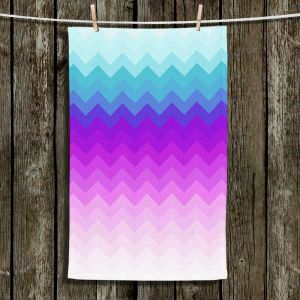 Unique Hanging Tea Towels | Organic Saturation - Pastel Ombre Chevron | Abstract Patterns