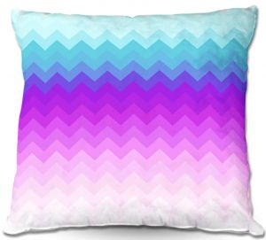 Decorative Outdoor Patio Pillow Cushion | Organic Saturation - Pastel Ombre Chevron