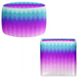 Round and Square Ottoman Foot Stools | Organic Saturation - Pastel Ombre Chevron
