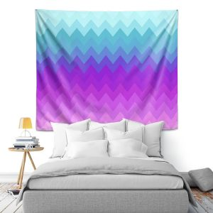 Artistic Wall Tapestry | Organic Saturation Pastel Ombre Chevron