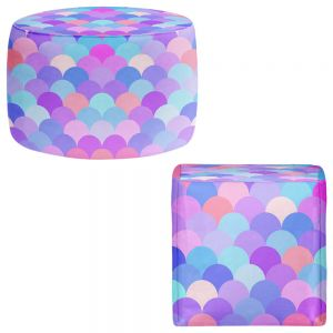 Round and Square Ottoman Foot Stools | Organic Saturation - Pastel Scales Pattern