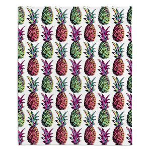 Decorative Fleece Throw Blankets | Organic Saturation - Pineapple Party