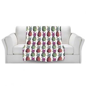 Artistic Sherpa Pile Blankets | Organic Saturation Pineapple Party