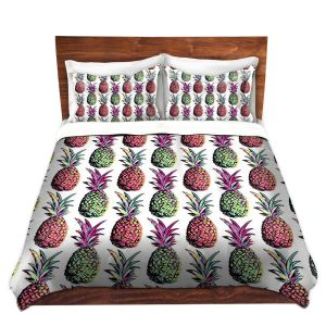 Artistic Duvet Covers and Shams Bedding | Organic Saturation - Pineapple Party