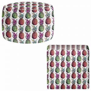 Round and Square Ottoman Foot Stools | Organic Saturation - Pineapple Party