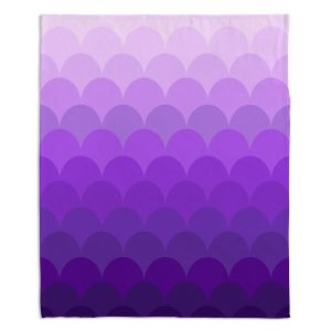 Decorative Fleece Throw Blankets | Organic Saturation - Purple Ombre Scales