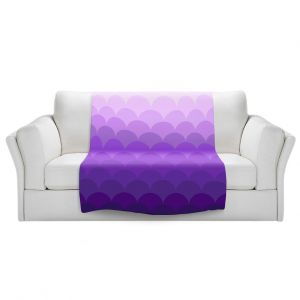 Artistic Sherpa Pile Blankets   Organic Saturation - Purple Ombre Scales