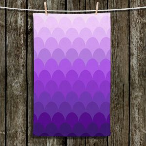 Unique Hanging Tea Towels | Organic Saturation - Purple Ombre Scales | Abstract Patterns
