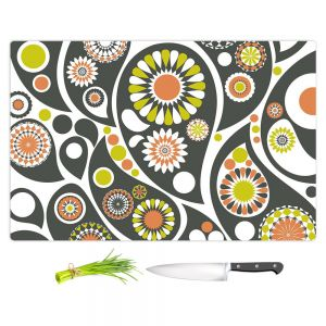 Artistic Kitchen Bar Cutting Boards | Organic Saturation - Retro Paisley
