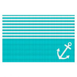 Decorative Floor Coverings | Organic Saturation Teal Love Anchor Nautical