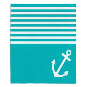 Decorative Fleece Throw Blankets | Organic Saturation - Teal Love Anchor Nautical
