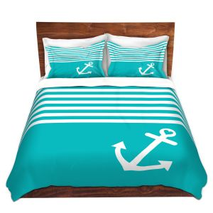 Artistic Duvet Covers and Shams Bedding | Organic Saturation - Teal Love Anchor Nautical
