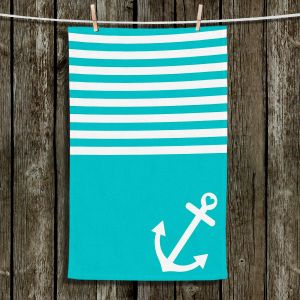 Unique Bathroom Towels | Organic Saturation - Teal Love Anchor Nautical