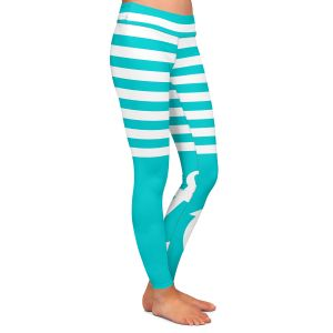Casual Comfortable Leggings | Organic Saturation Teal Love Anchor Nautical