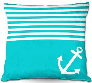Decorative Outdoor Patio Pillow Cushion | Organic Saturation - Teal Love Anchor Nautical