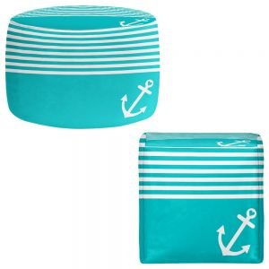 Round and Square Ottoman Foot Stools | Organic Saturation - Teal Love Anchor Nautical