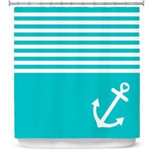 Premium Shower Curtains | Organic Saturation Teal Love Anchor Nautical