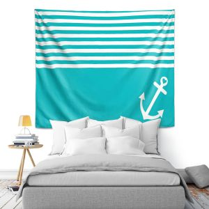 Artistic Wall Tapestry   Organic Saturation Teal Love Anchor Nautical