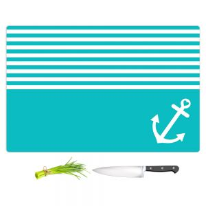 Artistic Kitchen Bar Cutting Boards | Organic Saturation - Teal Love Anchor Nautical