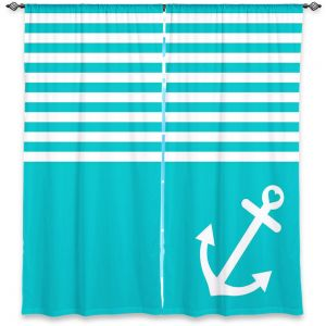 Decorative Window Treatments | Organic Saturation Teal Love Anchor Nautical