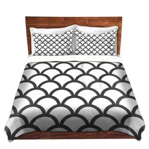 Artistic Duvet Covers and Shams Bedding   Organic Saturation - White Scallop Pattern