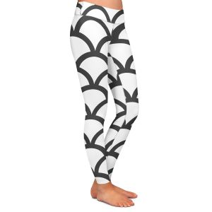 Casual Comfortable Leggings   Organic Saturation White Scallop Pattern