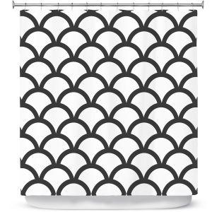 Premium Shower Curtains | Organic Saturation White Scallop Pattern