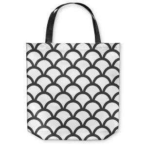 Unique Shoulder Bag Tote Bags | Organic Saturation White Scallop Pattern