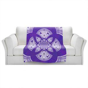 Artistic Sherpa Pile Blankets   Pam Amos - Daisy Tile Purple   Geometric