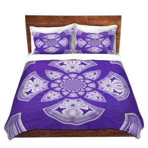 Artistic Duvet Covers and Shams Bedding | Pam Amos - Daisy Tile Purple | Geometric