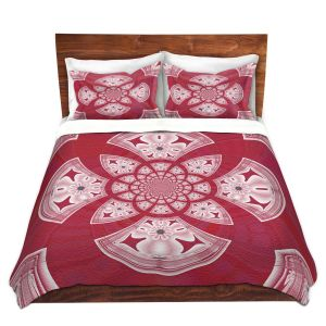 Artistic Duvet Covers and Shams Bedding | Pam Amos - Daisy Tile Red | Geometric