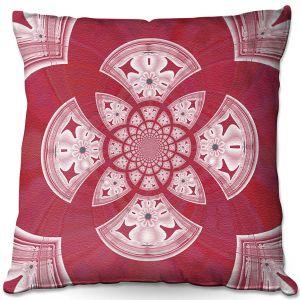 Throw Pillows Decorative Artistic | Pam Amos - Daisy Tile Red | Geometric