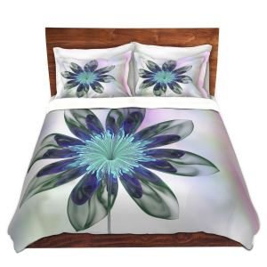 Artistic Duvet Covers and Shams Bedding | Pam Amos - De Bois 1 | Abstract Flower
