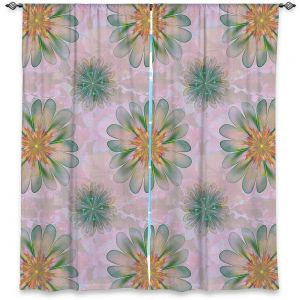 Decorative Window Treatments | Pam Amos - Abstract Flower Tile Orange Jade | repetition floral