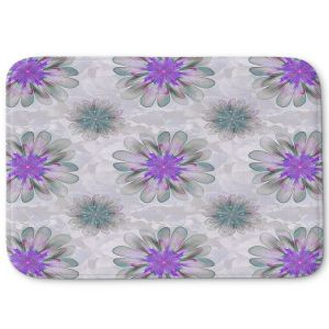 Decorative Bathroom Mats | Pam Amos - Abstract Flower Tile Violet | repetition floral