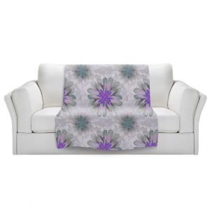 Artistic Sherpa Pile Blankets | Pam Amos - Abstract Flower Tile Violet | repetition floral