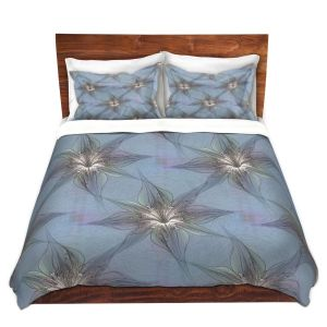 Artistic Duvet Covers and Shams Bedding | Pam Amos - Blue Orchid | Flower pattern repetition